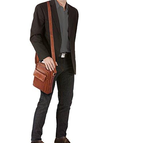 STILORD 'Jannis' Borsello a tracolla uomo in pelle Piccola borsa messenger per tablet da 9.7 pollici Borsetta in vero cuoio resistente stile vintage , Colore:cognac lucente cognac-marrone