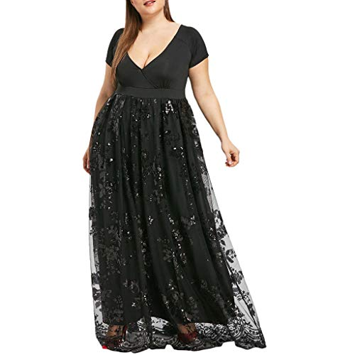 VJGOAL Kleider Damen Elegant Große Größen Maxi Partykleid für Frauen Mode V-Ausschnitt Pailletten Kurze Ärmel Dresses for Women(Schwarz,XL)