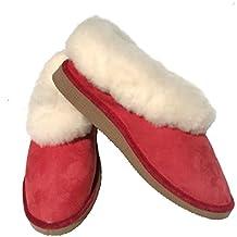 92de164468f1 HDH Chaussons Filles Rouges fourrés Peau de Mouton - Tannage Naturel