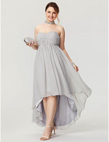 SHUAIGUO Holiday skirt A-Line Sweetheart Asymmetrical Chiffon Homecoming/Prom/Formal Evening Dress with Beading Pleats Ruched Criss Cross by TS Couture®