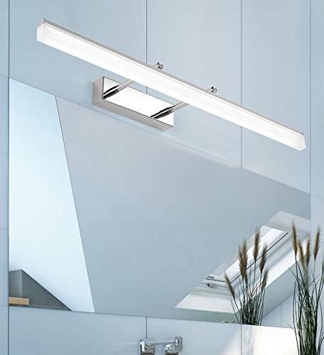 40*5.5CM Chrom Modern LED Spiegelleuchte bad Design Spiegellicht Drehba Hell Spiegellampen Metall Acryl Badwandlampe Flexibel Badezimmer schminkspiegel Warmes Licht IP44 9W 630LM [Energieklasse A++]