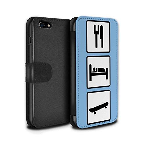 Stuff4 Coque/Etui/Housse Cuir PU Case/Cover pour Apple iPhone 7 / Merde/Rose Design / Manger/Sommeil Collection Patin/Skateboard/Bleu