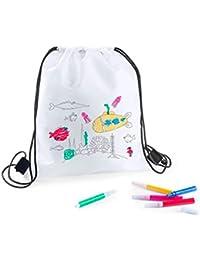 DISOK - Lote 20 Mochilas Petate para Colorear + Rotuladores - Regalos Cumpleaños, Comuniones,