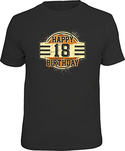 RAHMENLOS Original Geschenk T-Shirt zum 18. Geburtstag: Happy 18. Birthday. Größe S, Nr.1532