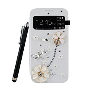 ESGO LUXURY 3D CRYSTAL BLING Case Cover For Samsung Galaxy S4 SIV I9500, With Screen Protector And Stylus Pen (dragonfly)