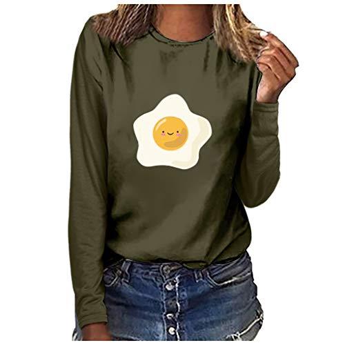 Xmiral Bluse Damen Omelett Drucken Lustig Lange Ärmel Rundhals T-Shirt Tops Mode Übergröße Atmungsaktiv Pullover Sweatshirts(y Grün,3XL)