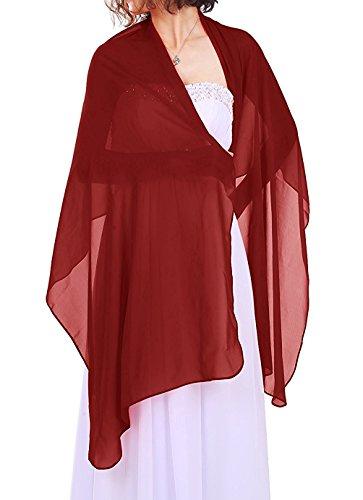 Dressystar Chiffon Stola Schal für Kleider in verschiedenen Farben Burgundy 200cm*50cm (Hochzeit Stola)
