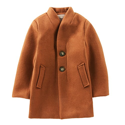 Zhhlinyuan Winter Kids Jungen Fashion Single-breasted Stand Collar Long Wool Coat Wollmantel Jacket Overcoat Vintage style (Suit Jacket Check)