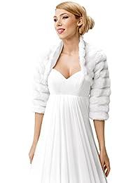 Veste bolero femme demoiselle d honneur pour mariee mariage en fourrure artificielle renard avec manche longueur 3/4 avec col, doublure integrale taille 34-46