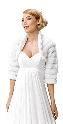 Morbido Coprispalle Nuziale Stile Bolerino con Manica 3/4 da Sposa in Pelliccia Ecologica Bianco