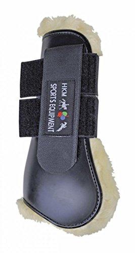 HKM 561416 Springgamaschen Teddy für Vorderbeine, Vollblut/Warmblut, schwarz/natur