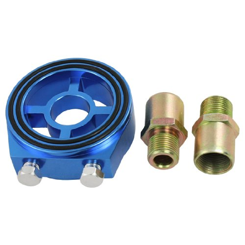 sourcingmap® Universal KFZ Auto blau Aluminium Öl Filter Sieb Sandwich Adapter Kit de (öl-filter-adapter-kit)