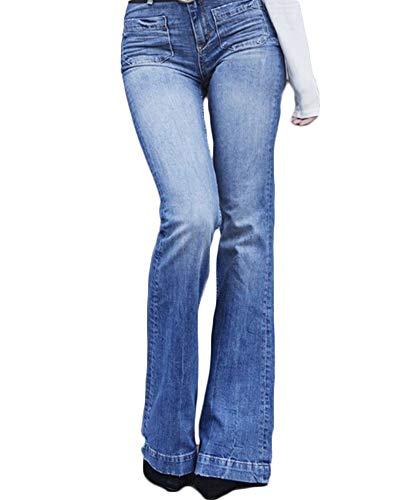 Yonglan Damen Flared Jeans Hosen Slim Fit Hohe Taille Jeanshose Denim Schlaghosen Aspicture XL Jeans Flared Jeans