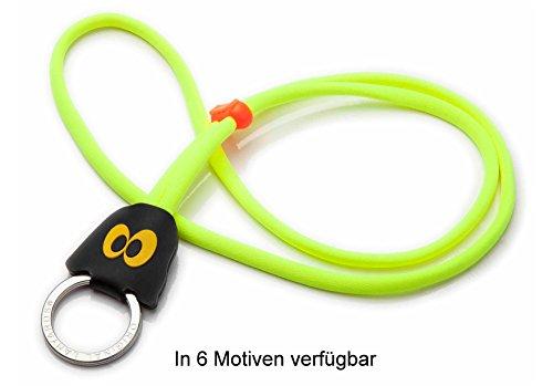 Original Lanyards® Bugs stylisches Geister Schlüsselband, Schlüsselanhänger, Lanyard in 6 Motiven erhältlich - (Made In Portugal) Neon/Gelb - Geist