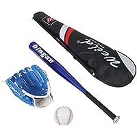Kit de béisbol compuesto por bate de aluminio, guante de piel, pelota de béisbol de goma y PVC apropiado para principiantes, niños y adolescentes, varios colores disponibles, turquesa, 63cm/25 pollici