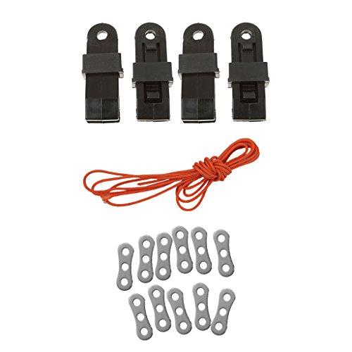 Sharplace 1.8mm Corde Ficelle de Tente Réfléchissante + 10pcs Tendeur de Corde + 4pcs Pinces de Bâches Camping en Plastique