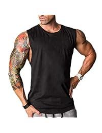 JiXuan Bodybuilding Gymnases Gilet Casual sans Manches Hommes Fitness Slim  Fit Débardeurs Gilet Workout Débardeurs pour 19f30f1d64a3