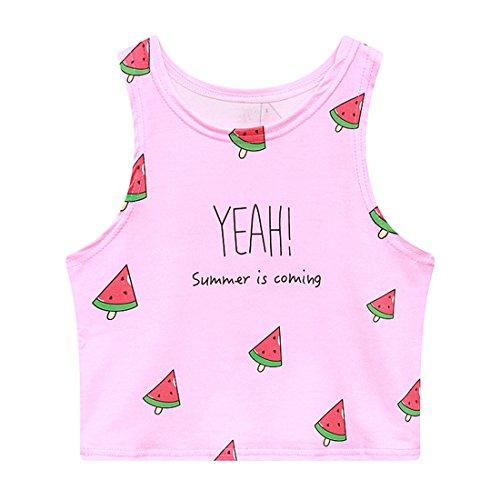 Jiayiqi Ja! der Sommer Kommt Wassermelonen Eis Crop Top Für Frauen Mädchen (Größe Dye Tie Junior)