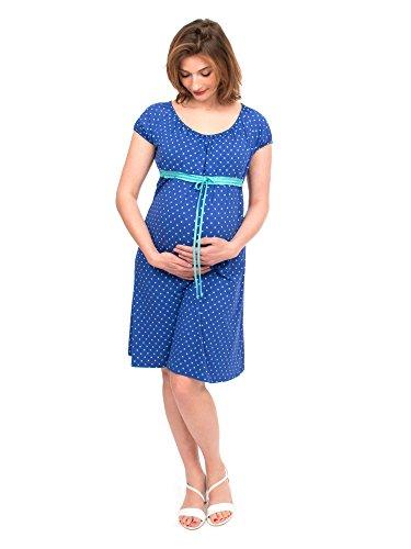 Viva la Mama I blaues Umstandskleid Stillkleid Sommer Schwangerschaftskleid Umstandsmode festlich Damen I ELLI - Kobaltblau Herz