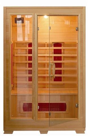 Sauna Infrarossi da 120x100 con ante a vetro struttura in legno due persone