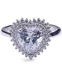 ANGG Amor Corazón 3.3ct Claro CZ Compromiso de la boda Anillo de plata de ley 925