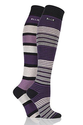 ladies-2-pair-elle-multi-striped-cotton-knee-high-socks-4-8-ladies-black