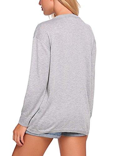 Chigant Damen Basic-Pullover Langarmshirt Sweatshirt mit V-Ausschnitt aus Feinstrick Grau