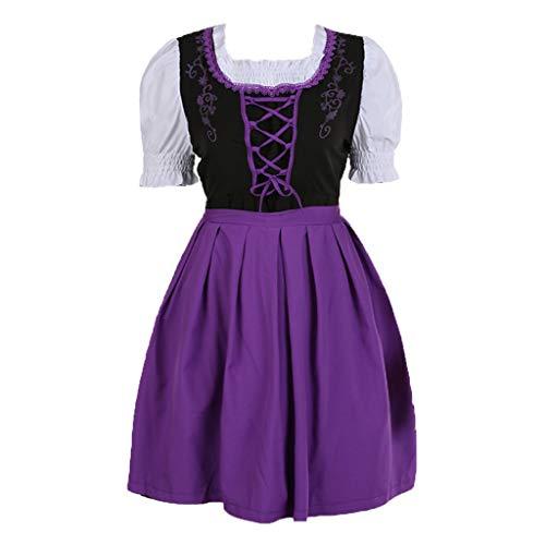 Yaohxu Damen Dirndl,Mode Anime mit einem Mädchen Kostüm Cute Cosplay Rollenspiel Kleid,Bekleidung,Lila,XXL