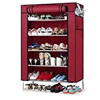 shoes organizer with cover in MAROON color