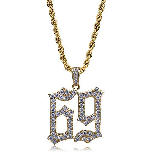 Gold Eis (Qiulv 69 Digital Hiphop Anhänger 18k Gold Überzogen EIS Raus Strass Halskette CZ Inlay Seil Verknüpfung Kette Schmuck,Gold)