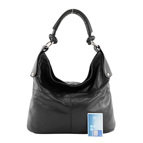 modamoda de - ital. Ledertasche Damenhandtasche Schultertasche Damentasche Nappaleder DS26 T61 Schwarz