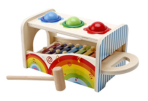 Image of Lewo Wooden Kids Musical Toys Pound Tap Bench with Slide Out Xylophone Hammer Early Educational Games for Toddlers