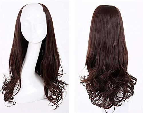 JIAFA Perücke Lange lockige Haare große Welle U-förmige halbe Kopfbedeckung Lange Glatte Haare unsichtbare Haarverlängerung -