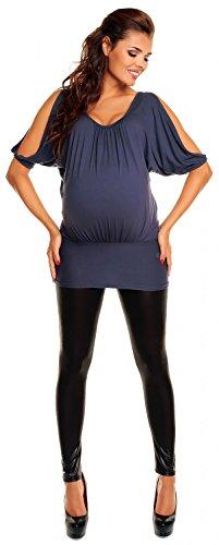 Zeta Ville Maternité T-shirt Top tunique grossesse chauve-souris - femme - 221c Bleu Gris