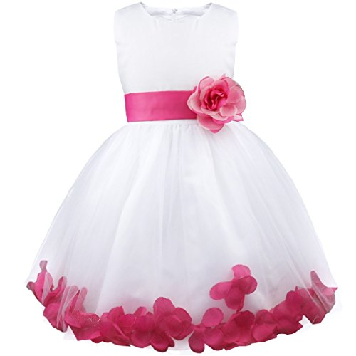 Pink flower girl dresses amazon girl flowers petal sleeveless wedding formal kid princess bridesmaid party dress 2 14 years hot pink 3 years mightylinksfo