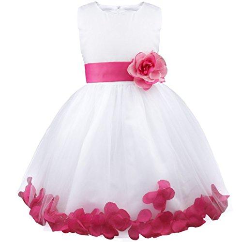 d Prinzessin Kleid Blumenmädchen Hochzeit Festzug Gebunden Taille 92-164 (104 (Herstellergröße: 4), Dunkel Rosa) ()