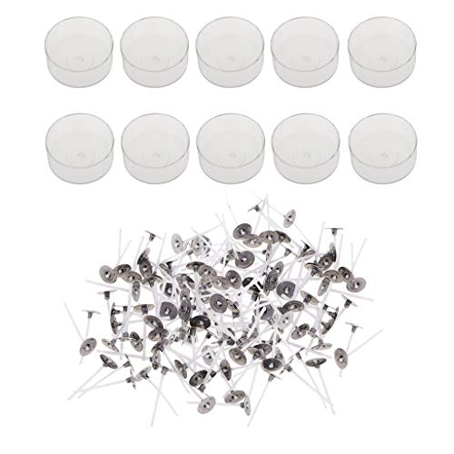 IPOTCH 200 Pieces Pre-waxed Pre-tabbed Cotton Candle Wicks and 10 Pieces Plastic Clear Round Shape Tealight Cup Empty Case Candle Making Mold
