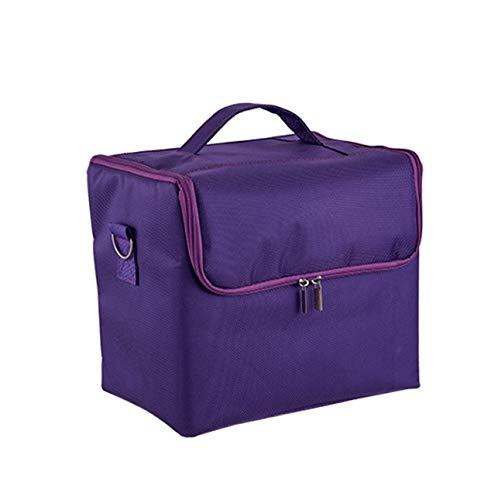 Make-up-Box, große Kapazität multifunktionale wasserdichte Kosmetik-Etui, tragbare Reise-Kosmetiktasche Aufbewahrungstasche (Color : Purple)