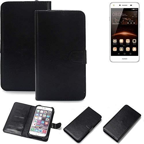 K-S-Trade® Wallet Case Handyhülle Für Huawei Y5 II Single SIM Schutz Hülle Smartphone Flip Cover Flipstyle Tasche Schutzhülle Flipcover Slim Bumper Schwarz, 1x