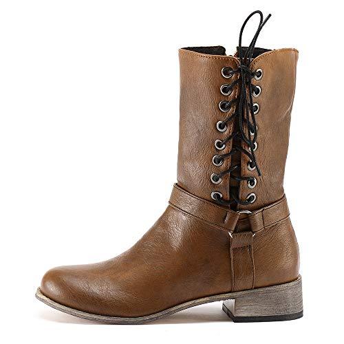 TianWlio Boots Stiefel Schuhe Stiefeletten Frauen Herbst Winter Retro Shoe Knight Rutschfeste Runde Zehe Tragen Beständige Mittlere TubeKnig Boots Weihnachten Gelb 38