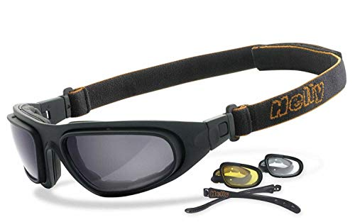 Helly® - No.1 Bikereyes® | beschlagfrei, winddicht, nachtsicht HLT® Kunststoff-Sicherheitsglas nach DIN EN 166 | Bikerbrille, Motorradbrille, Multifunktionsbrille | Brillengestell: schwarz