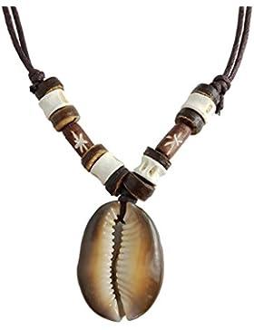 Halskette mit Muschel-Kettenanhänger und Holzperlen, Farbe braun, längenverstellbares Halsband aus gewachster...