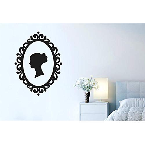 Woman's Profile Wall Decal Macrame Frame Vinyl Wall Stickers Removable Bedroom Girls Silhouette Elegant Houseware Mural 57x42cm