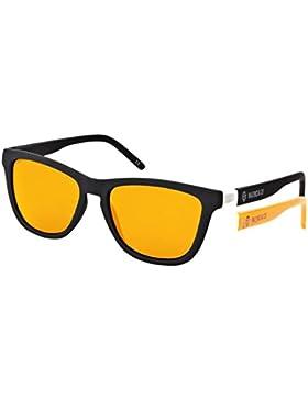 VCF, Gafas de Sol Hombre^Mujer, Rubber Black Orange Mirror, 54-17-140