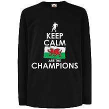 N4513D Kinder-T-Shirt mit langen Ärmeln Keep Calm, Wales are the Champions!