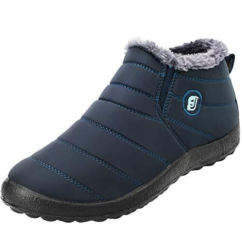 JOINFREE Herren Winter Warm Stiefeletten Wildleder Flach Plattform Sneaker Blau, 43 EU -
