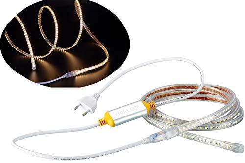 Ogeled 1-50M Led Strip 60 LEDs je meter Slim Led-Strifen wasserfest Dimmbar 230V (Warmweiß, 10M)