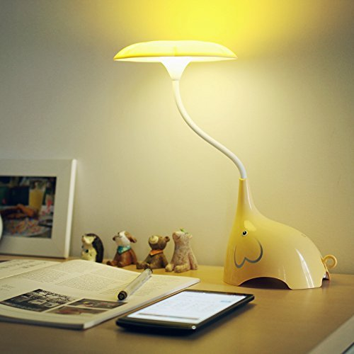 E Plaza Cute Elephant LED Desk Lamp Touch Sensitive 3 Levels Of Brightness  USB Rechargeable Table Lamp (Yellow)