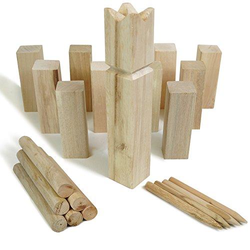 Moorland KUBB Wikinger-Spiel Knut Schweden-Schach Outdoor Spiel für bis zu 12 Personen – massives Holz inkl Tasche - 2