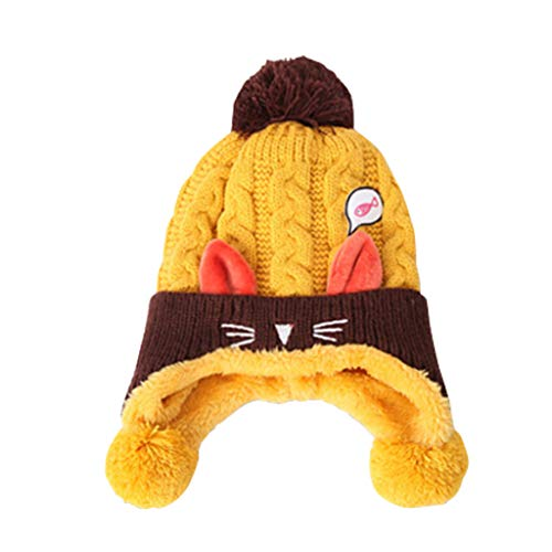 Gogokids Bebé Niños Niñas Gorras Invierno Sombreros de Pompón Crochet Punto, Amarillo